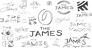 Hand-drawn logos of The James