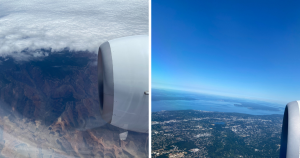 Image of clouds of grand canyon from plan window and view of land and water flying into Washington from plane window.