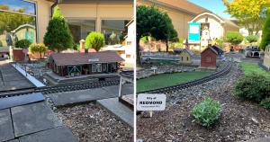 Miniature buildings in the resident garden railroad